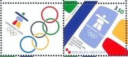 HR 2010-933 OLYMPIC GAMES VANCUVER, CROATIA HRVATSKA, 1 X 1v + Label, MNH - Croatie