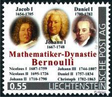 """BERNOULLI - Dynasty Of Mathematicians - Liechtenstein 2014, MNH ** - Mathematics,  Mathematiciens - """"die Marke"""" - Ohne Zuordnung"""