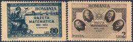 """Special Paper """"Gazeta Matematică"""" - Romania 1945 - Michel # 900, 901 - Ionescu, Ţiţeica, Ioachimescu, Cristescu, Mathema - Ohne Zuordnung"""