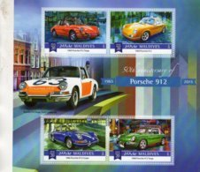 50th Anniversary Porsche 912  -  Ferdinand Porsche - Porsche 912 Targa Police - Maldives 2015 4v  Sheet MNH/Neuf/Mint - Autos