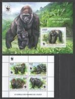 CA344 2015 CENTRAL AFRICA CENTRAFRICAINE WWF ANIMALS & FAUNA GORILLAS KB+BL MNH - W.W.F.