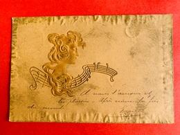 1901 - RELIEF - GAUFREE - M.M. VIENNE - ART NOUVEAU - FEMME - DAME - MUZIEKNOTEN - MUSIQUE - Vienne