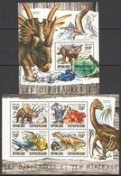 CA147 2016 CENTRAL AFRICA CENTRAFRICAINE PREHISTORIC DINOSAURS MINERALS LES DINOSAURES KB+BL MNH - Postzegels