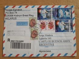 Enveloppe De La Biélorussie Envoyée En Argentine Avec Un Pingouin, Un Ours Polaire Et D'autres Timbres - Bielorrusia