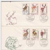 2 FDC Tchécoslovaquie Bouquetin Mouflon Cerf Chamois Chevreuil Daim Chasse Gibier. - Timbres