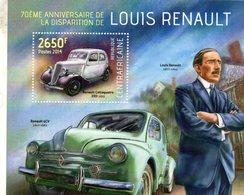 Centrafricaine 2014  -  70eme Anniversaire De LOUIS RENAULT - 4CV - Celtaquatre - 1v  Sheet MNH/Neuf/Mint - Cars