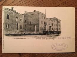 CPA, Moselle, Gruss Aus Mörchingen , Uhlanenkaserne (Militaria), éd A.Henne, écrite En 1900, Tampon L.Bigerel Mörchingen - Morhange