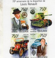 70eme Anniversaire De LOUIS RENAULT - AX-FT17 Tank-4CV  -  Togolaise 2014 4v  Sheet MNH/Neuf/Mint - Cars