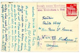 """Landpoststempel """"Reuth UnterNeuhaus über Weissenburg (Bay)"""" Postkarte Mit Zensur Nach Wien - BRD"""