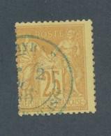 FRANCE - N° 92 OBLITERE AVEC CAD BLEU SMYRNE? AVEC LEGER PIQUAGE EST/OUEST - 1879 - 1876-1898 Sage (Type II)