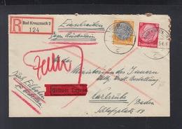 Dt. Reich Expresbrief 1939 Bad Kreuznach Nach Karlsruhe - Germania