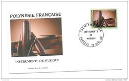 FDC Polynésie  N°  Instruments De Musique 10 07 1996. - FDC