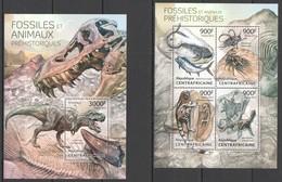 CA721 2013 CENTRAL AFRICA CENTRAFRICAINE FAUNA PREHISTORIC ANIMALS FOSSILS DINOSAURS KB+BL MNH - Fossielen