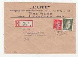 Elite Wiener Neustadt Company Letter Cover Posted Registered 1943 Wien B191201 - 1918-1945 1. Republik