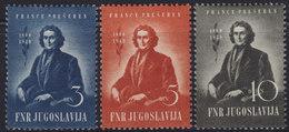 Yugoslavia 1949 Franc Presern, MNH (**) Michel 567-569 - 1945-1992 Socialist Federal Republic Of Yugoslavia