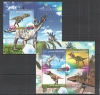 ML688 2014 MALDIVES FAUNA PREHISTORIC ANIMALS DINOSAURS KB+BL MNH - Postzegels