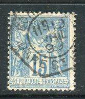 Rare N° 101 Cachet à Date Bleu Du Bureau Temporaire De Bordeaux Gare St Jean ( 1899 ) - 1876-1898 Sage (Type II)