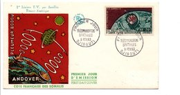 COTE DES SOMALIS FDC 1963 1 ERE LIAISON TELEVISION PAR SATELLITE - Lettres & Documents