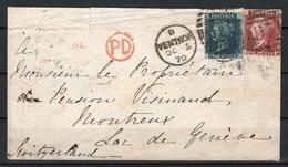 UK Letter From Isle Of Man To Montreux Switzerland Via London - 1840-1901 (Viktoria)
