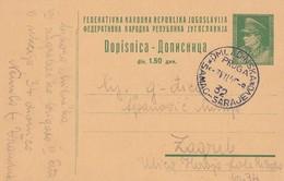 1947 YUGOSLAVIA STATIONERY OMLADINSKA PRUGA SAMAC-SARAJEVO RAILWAY CONSTRUCTION , NEMILA VRANDUK - 1945-1992 Sozialistische Föderative Republik Jugoslawien