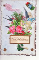 BELLE CARTE FANTAISIE  VIVE SAINTE CATHERINE AVEC AJOUTIS - St. Catherine