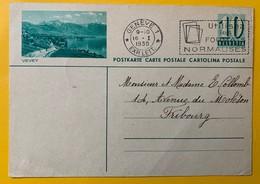 9491 - Entier Postal Illustration Vevey Genève 16.01.1936 - Entiers Postaux