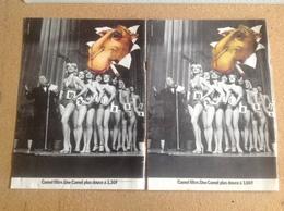 Pub Papier Tabac Cigarettes, Camel X 2 élection Miss évolution Du Prix - Pubblicitari