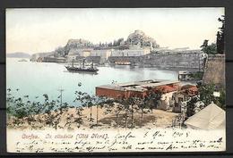 GRECE  -   CORFOU  -  1909 .  La Citadelle.  Bateau.  Pour Lyon En France. - Grèce