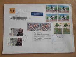 Enveloppe De Slovénie Distribuée En Argentine Avec Beaucoup De Timbres - Eslovenia
