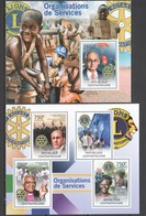 CA828 2012 CENTRAL AFRICA CENTRAFRICAINE ORGANIZATIONS LIONS ROTARY 1KB+1BL MNH - Other