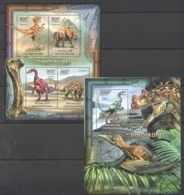 CA830 2012 CENTRAL AFRICA CENTRAFRICAINE FAUNA REPTILES DINOSAURS DINOSAURES 1KB+1BL MNH - Sellos