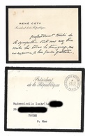 RENE COTY   CDV + ENVELOPPE  1955 - Autographs