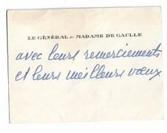 LE GENERAL ET MADAME DE GAULLE   CDV - Autogramme & Autographen