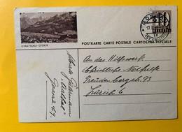 9503 -  Entier Postal Illustration Château-D'Oex Gossau 17.02.1947 - Entiers Postaux