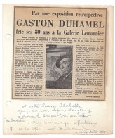 GASTON DUHAMEL   ARTISTE PEINTRE  1962    ROUEN - Autogramme & Autographen