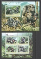 CA860 2012 CENTRAL AFRICA CENTRAFRICAINE WWF FAUNA ANIMALS PRIMATES MONKEYS TROGLODYTES 1KB+1BL MNH - W.W.F.