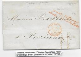1854 - LETTRE AUTOGRAPHE En FRANCHISE Du DIRECTEUR GENERAL Des POSTES STOURM Avec MARQUES ROUGES - Postmark Collection (Covers)