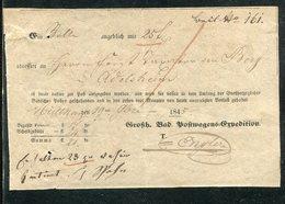"""Baden / 1845 / Postschein """"Grossh. Bad. Postwagen-Expedition"""" Hs. Muellheim (2134) - ...-1849 Vorphilatelie"""