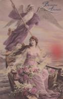 Bonne Année - Illustrateur  -  Luxographie N° 66 - Ange Et Jeune Femme Dans Une Barque  (lot Pat 86) - Año Nuevo