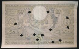 100 FRANK OF 20 BELGAS  - VERNIETIGD BILJET   2 SCANS   15.02.39 - [ 2] 1831-... : Regno Del Belgio