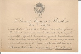 Le Général François De Bourbon Duc D'Anjou, Carton Exil - Historische Documenten