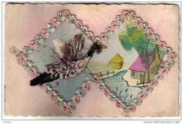 Carte Postale Fantaisie Brodée Et Canard En Plumes Véritables  Trés Beau Plan - Embroidered