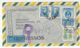 Brasil Air Mail Letter Cover Posted Registered 1960 To Austria B191201 - Brazilië
