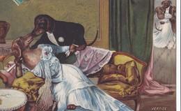 """Carte 1909 Chiens Humanisés , Habillés , Bal """"vertige"""" ,basset , Teckel  (très Belle Illustration) - Chiens"""