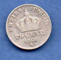 France  -  20 Centimes 1866 A  -  état  TB+ - E. 20 Centimes