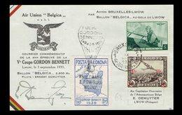 Carte Commémorative Coupe Gordon Bennett COB 467 + PA 6 + Vignettes Polonaise Poctza Balonawa  Bleue - Belgique