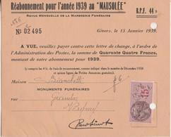 """1939 / Carte Abonnement Revue """"Mausolée"""" / 69 Givors / à Bianchetti Granite Funéraire 88 Vagney - 1900 – 1949"""