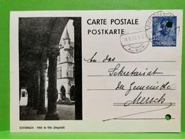Entier Postaux, Echternach, Hôtel De Ville . Cache Differdange 1939 - Postwaardestukken
