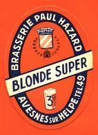 étiquette Ancienne De Bière Blonde Super Brasserie Paul Hazard à Avesnes Sur Helpe - Birra