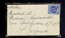 N° 257 Annulé à La Main / Lsc De Deuil Format Carte De Visite Bruxelles 4 - 1929 Avec Flamme  Vers Belgrade ( Serbie ) - Belgique